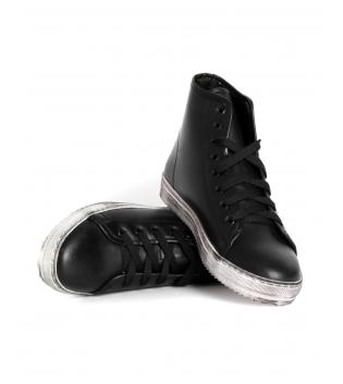 Sneakers Uomo Scarpe Alte Ecopelle Tinta Unita Nere Lacci Casual GIOSAL
