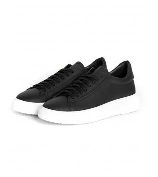 Sneakers Uomo Scarpe Sportive Gommate Street Tinta Unita Nere Casual GIOSAL