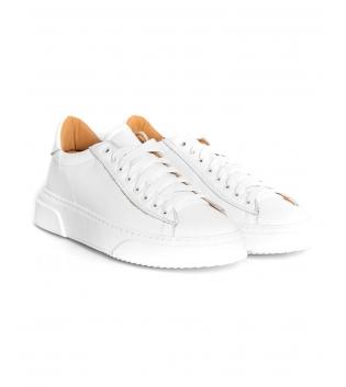 Sneakers Uomo Scarpe Sportive Gommate Street Tinta Unita Bianche Casual GIOSAL