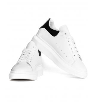 Sneakers Uomo Scarpe Bianche Nere  Casual Ecopelle GIOSAL