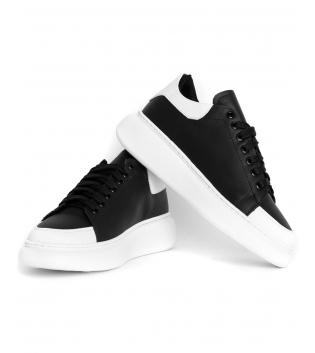 Sneakers Uomo Scarpe Nere  Bianche Casual Ecopelle GIOSAL