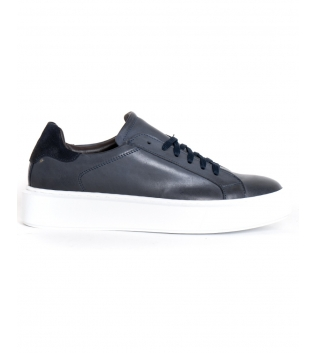 Scarpe Uomo Sneakers Tinta Unita Blu Sportive Casual GIOSAL
