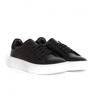 Scarpe Uomo Sneakers Tinta Unita Nere Sportive Casual GIOSAL