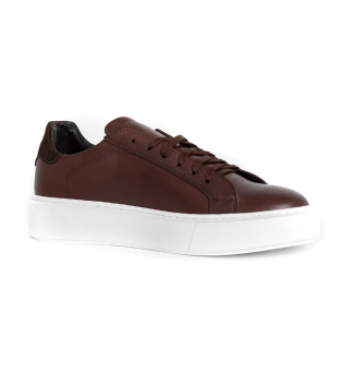 Scarpe Uomo Sneakers Tinta Unita Marroni Sportive Casual GIOSAL