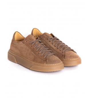 Scarpe Uomo Sneakers Tinta Unita Camel Camoscio Lacci Sportive Street GIOSAL