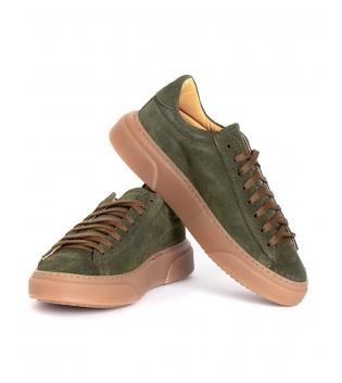 Scarpe Uomo Sneakers Tinta Unita Verde Camoscio Lacci Sportive Street GIOSAL