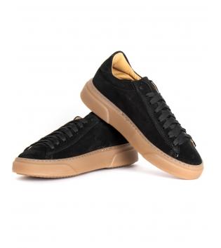 Scarpe Uomo Sneakers Tinta Unita Nero Camoscio Lacci Sportive Street GIOSAL