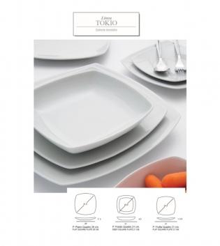 Piatto Fondo Quadrato Linea Tokyo Confezione Da 6 Porcellana Bianco 21x21 GIOSAL