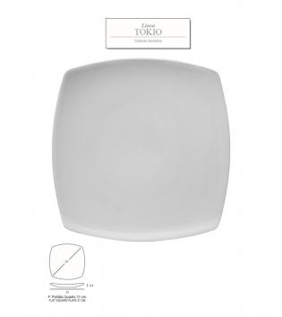 Piatto Portata Quadrato Linea Tokyo Confezione Da 6 Pocerllana Bianco 31x31 GIOSAL