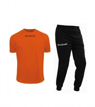 Outfit Givova Uomo Donna Bambino Unisex Completo Tuta T-Shirt Pantalone Givova One Arancio Nero GIOSAL