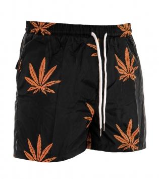 Costume Uomo Boxer Fantasia Nero e Arancio Elastico Mare Summer Pantaloncini Da Bagno GIOSAL