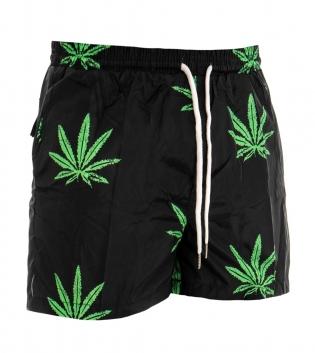 Costume Uomo Boxer Fantasia Nero e Verde Elastico Mare Summer Pantaloncini Da Bagno GIOSAL