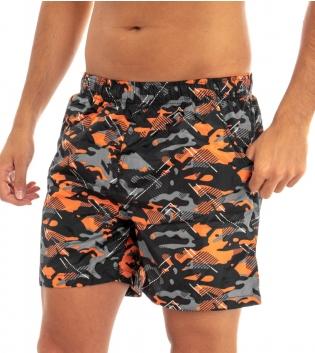 Costume Boxer Uomo Mare Da Bagno a Fantasia Arancio Multicolore Elastico Casual GIOSAL
