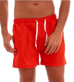 Costume Boxer Uomo Da Bagno Mare Summer Tinta Unita Bicolore Rosso Lacci Bianchi GIOSAL