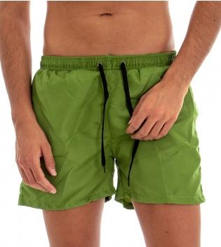 Costume Boxer Uomo Da Bagno Mare Tinta Unita Bicolore Verde Laccetti Neri GIOSAL