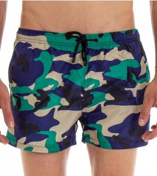 Costume Da Bagno Boxer Summer Pantaloncini Elastico Fantasia Militare Blu GIOSAL