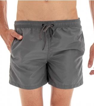 Costume Da Bagno Summer Pantaloncino Boxer Elastico Tinta Unita Grigio GIOSAL