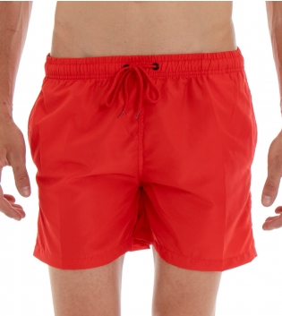 Costume Da Bagno Summer Pantaloncino Boxer Elastico Tinta Unita Rosso GIOSAL