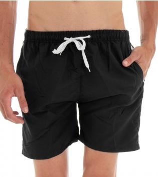 Costume Da Bagno Summer Pantaloncino Boxer Elastico Tinta Unita Righe Nero GIOSAL