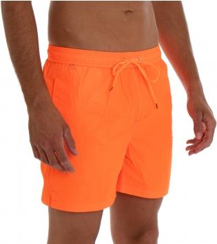 Costume Da Bagno Uomo Boxer Arancio Fluo Tinta Unita Elastico Coulisse Tasche GIOSAL