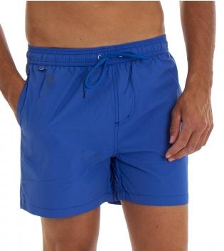 Costume Da Bagno Uomo Boxer Blu Royal Tinta Unita Elastico Coulisse Tasche GIOSAL