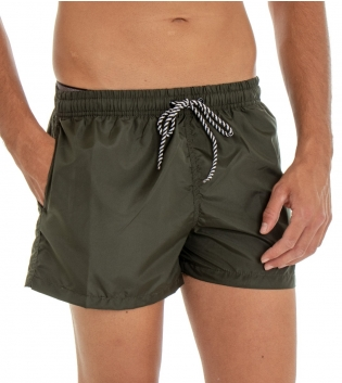Costume Da Bagno Uomo Boxer Verde Tinta Unita Elastico Coulisse Tasche GIOSAL