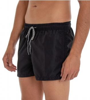 Costume Da Bagno Uomo Boxer Nero Tinta Unita Elastico Coulisse Tasche GIOSAL