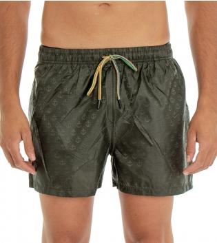 Costume Da Bagno Uomo Boxer Verde Tinta Unita Stampe Ancora Elastico Coulisse Tasche GIOSAL-Verde-S