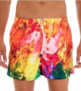 Costume Da Bagno Uomo Boxer Fantasia Multicolore Elastico Coulisse Tasche GIOSAL