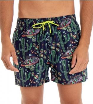 Costume Da Bagno Uomo Boxer Fondo Blu  Stampe Cactus Elastico Coulisse Tasche GIOSAL