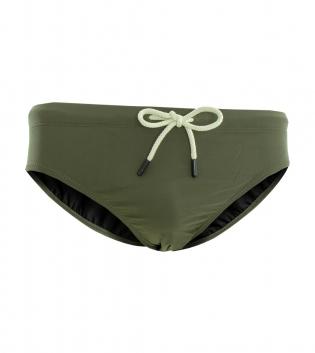Costume Uomo Summer Slip Tinta Unita Verde Elastico GIOSAL-Verde-S