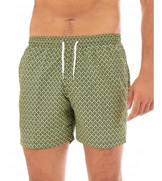 Costume Uomo Boxer Verde Chiaro Elastico Microfantasia Rombi Casual Summer GIOSAL-Verde-S