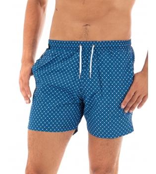 Costume Uomo Boxer Blu Royal Elastico Microfantasia Casual Summer GIOSAL