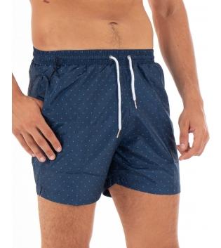 Costume Uomo Boxer Blu Elastico Microfantasia Pois Casual Summer GIOSAL