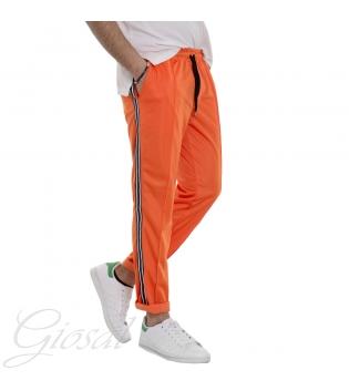 Tuta Uomo Sport Comfort Relax Arancione Fluo Elastico Righe Tasche MOD GIOSAL