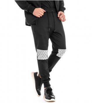 Pantalone Uomo Tuta Toppe Geometrica Sport Comfort Nero Elastico GIOSAL