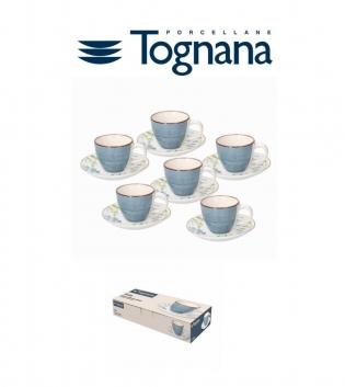 Tazzine Da Caffè Confezione Da 6 Con Piattino Tognana Porcellana Metropol Gaia Azzurro GIOSAL