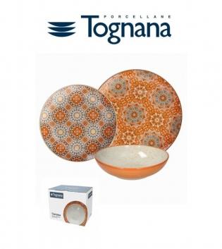 Servizio Tavola Piatti 18pezzi Metropolis Curcuma Tognana Porcellana Arancione GIOSAL