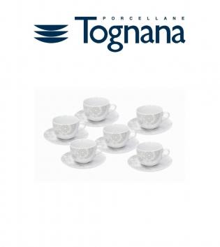 Tazzine Caffè Confezione Da 6 Con Piattino Tognana Ines Porcellana Bianco Decori GIOSAL