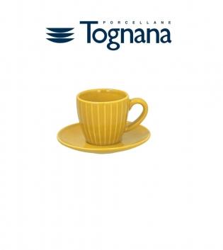 Tazzine Da Caffè Confezione da 6 Relief Djerba Tognana Porcellana Piattino Giallo GIOSAL