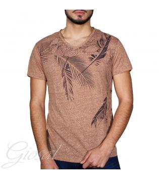 T-Shirt Uomo Mezza Manica Scollo A V Stampa Piuma Floreale Vari Colori  GIOSAL-Marrone-XL