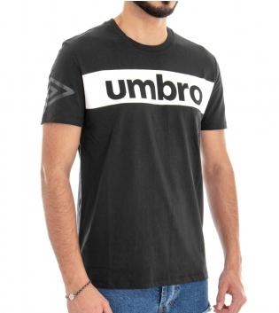 T-Shirt Maglia Uomo UMBRO RAP00002B Nera Stampa Manica Corta GIOSAL
