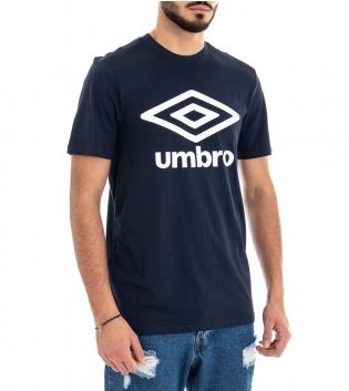 Maglia Umbro T-Shirt Blu Uomo RAP00039B Maniche Corte Stampa GIOSAL