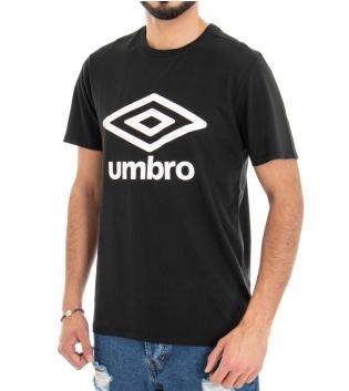 T-Shirt Uomo Maglia Umbro Nero Stampa Girocollo RAP00039B GIOSAL