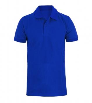 Polo Uomo Maglia Maniche Corte T-Shirt Mezza Manica Con Colletto Blu Royal Tinta Unita GIOSAL