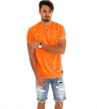 T-Shirt Maglia Uomo Manica Corta Macchie Pittura Arancione Fluo Cotone GIOSAL