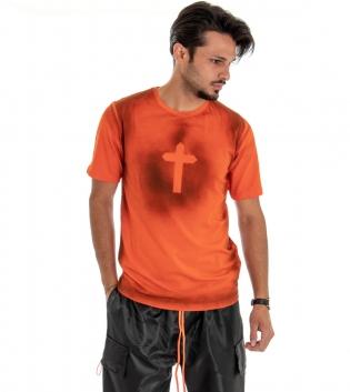 T-shirt Uomo Maglia Maniche Corte Cotone Girocollo Casual Croce Arancione GIOSAL