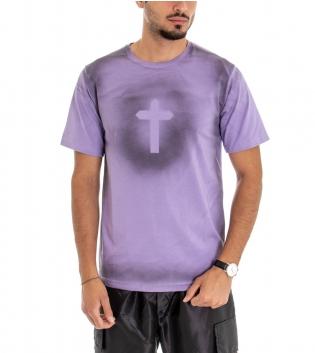 T-shirt Uomo Maglia Maniche Corte Cotone Girocollo Casual Croce Viola GIOSAL
