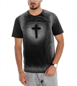 T-shirt Uomo Maglia Maniche Corte Cotone Girocollo Casual Croce Nero GIOSAL