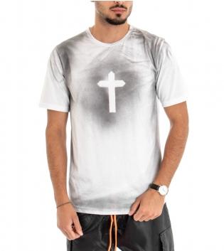 T-shirt Uomo Maglia Maniche Corte Cotone Girocollo Casual Croce Bianco GIOSAL